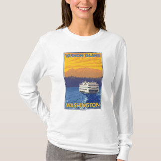 Ferry and Mountains - Vashon Island, T-Shirt