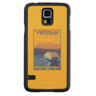 Ferry and Mountains - Victoria, BC Canada Carved Maple Galaxy S5 Case