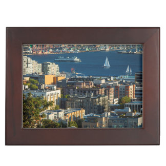 Ferry And Sailboats In The Puget Sound Keepsake Box