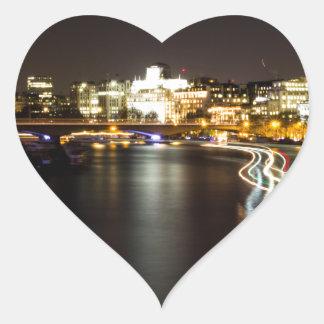 Ferry at night heart sticker