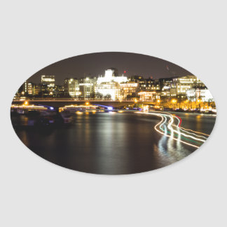 Ferry at night oval sticker