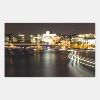 Ferry at night rectangular sticker