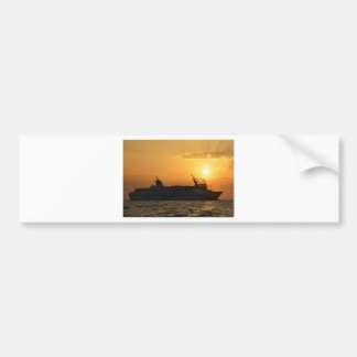 Ferry At Sunset Bumper Sticker