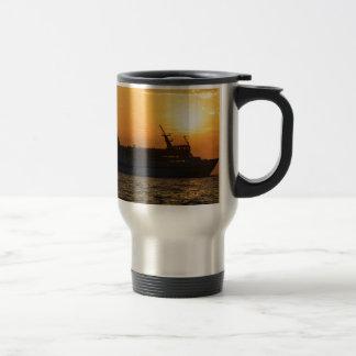 Ferry At Sunset Travel Mug