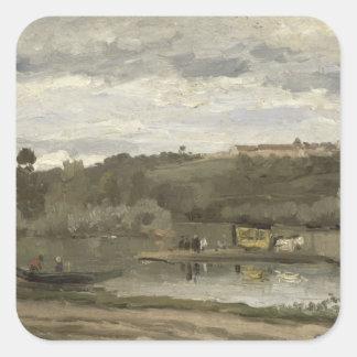 Ferry at Varenne-Saint-Hilaire, 1864 Square Sticker