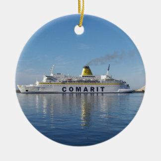 Ferry Berkane Leaving Harbor Round Ceramic Decoration