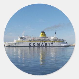 Ferry Berkane Leaving Harbor Round Sticker
