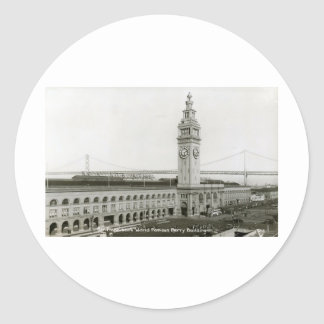 Ferry Building, San Francisco Vintage Round Sticker