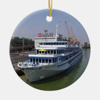 Ferry In Odessa Round Ceramic Decoration