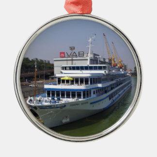 Ferry In Odessa Silver-Colored Round Decoration