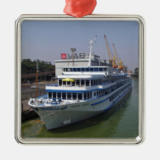 Ferry In Odessa Silver-Colored Square Decoration