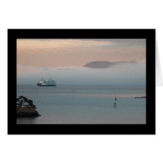 Ferry in Sunset Fog Card
