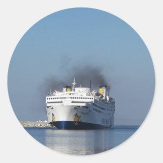 Ferry Lissos Leaving Limnos Round Sticker