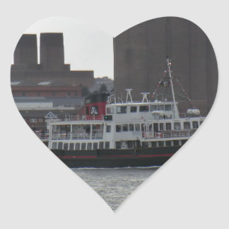 Ferry Over the River Mersey Heart Sticker