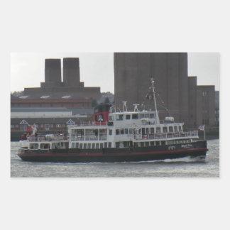 Ferry Over the River Mersey Rectangular Sticker