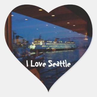 Ferry through the Window Heart Sticker