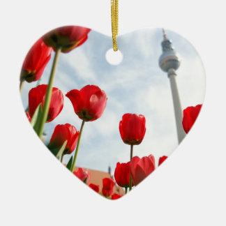 Fersehturm Television Tower Berlin Germany Ceramic Heart Decoration