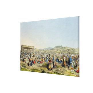 Festival at Athens, pub. by J. Rodwell, 1830 (aqua Canvas Print