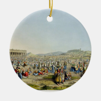 Festival at Athens, pub. by J. Rodwell, 1830 (aqua Round Ceramic Decoration