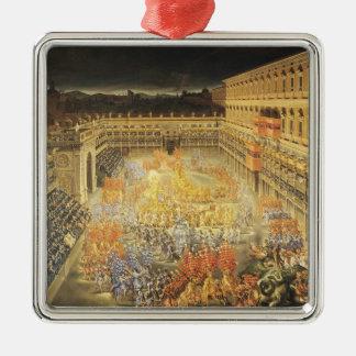 Festival in Honour of Queen Christina Silver-Colored Square Decoration