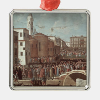 Festival of the Blessed Virgin Mary on Santa Silver-Colored Square Decoration