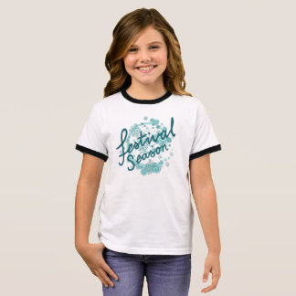Festival Season Type Design Teals Ringer T-Shirt