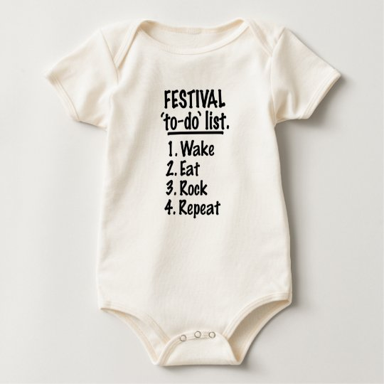 Festival 'to-do' list (blk) baby bodysuit
