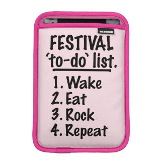 Festival 'to-do' list (blk) iPad mini sleeves