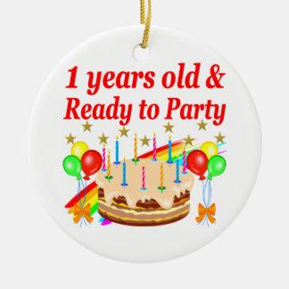 FESTIVE 1ST BIRTHDAY PARTY DESIGN ROUND CERAMIC DECORATION