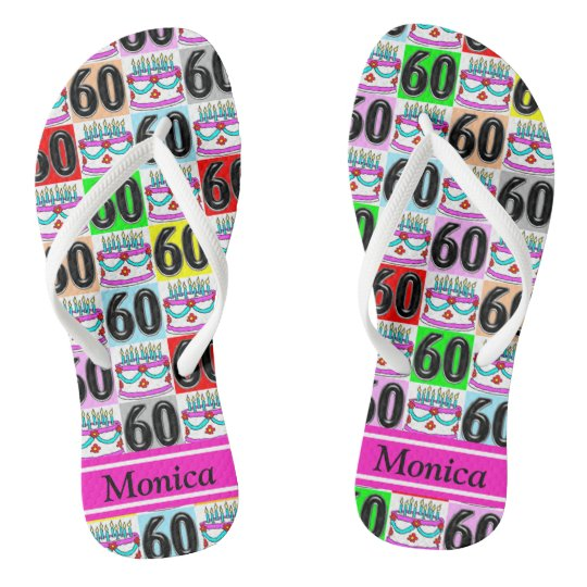 FESTIVE 60TH BIRTHDAY PERSONALIZED FLIP FLOPS
