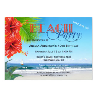 Festive Adults Tropical Beach Party Invitation