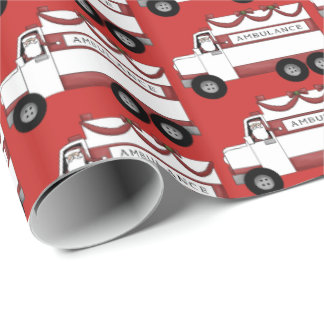 Festive Ambulance driver Santa party wrap Wrapping Paper