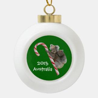 Festive Australian Koala Bears on Candy Cane Ceramic Ball Decoration