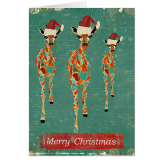 Festive Azure & Amber Giraffes  Christmas Card