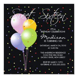 Festive Balllons Sweet Sixteen Birthday Inviation 13 Cm X 13 Cm Square Invitation Card