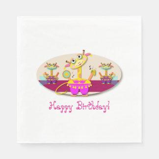 Festive Bellydancing Giraffe Birthday Cartoon Paper Napkin