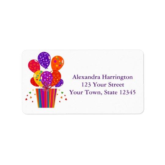 Festive Birthday Balloons, Gift Address Label