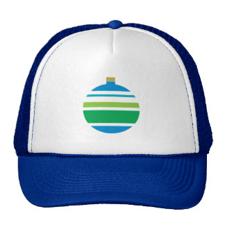 Festive Blue and Green Striped Ornament Cap