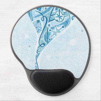 Festive Blue Winter Snow Pattern Gel Mousepad