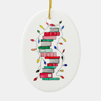 Festive Book Stack Christmas Ornament