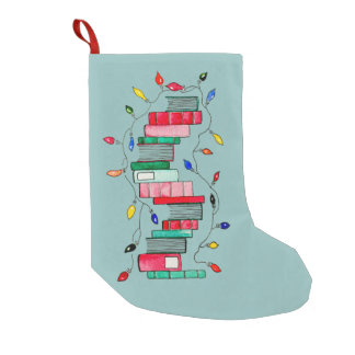 Festive Book Stack - Green Background Small Christmas Stocking