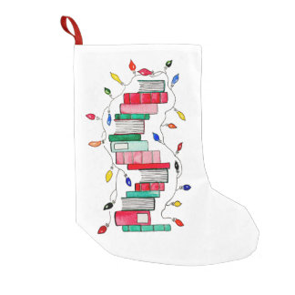Festive Book Stack - White Background Small Christmas Stocking