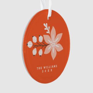 Festive Botanical Holiday Photo Ornament