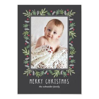Festive Botanical Merry Christmas Photo Card