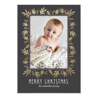 Festive Botanical Merry Christmas Photo Card Gold