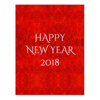 Festive Bright Red Color Happy New Year 2018 Postcard
