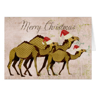 Festive Bronze Camels Merry Christmas Card