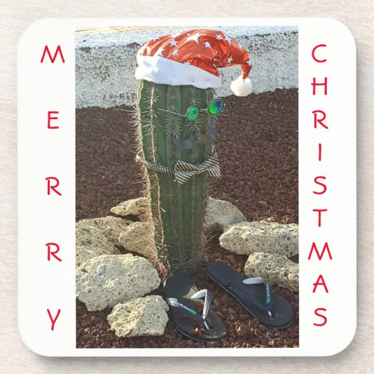 Festive cactus Christmas square coasters