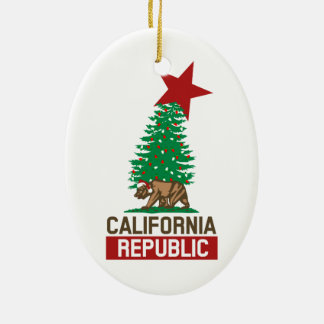 Festive California Republic for the Holidays Christmas Ornament
