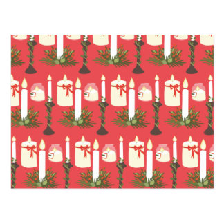 Festive Candles Print Red Postcard